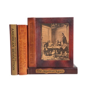 Leather-Bound American History - Set of Four Decorative Books