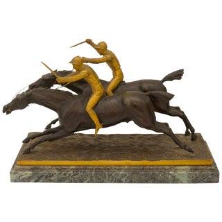 """Antique """"Racing Jockeys"""" Bronze Sculpture For Sale"""