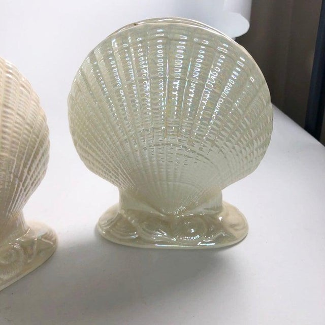 Iridescent Clam Shell Vases - Set of 2 For Sale - Image 4 of 6