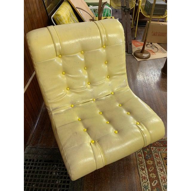 Modern Mid Century Fiberglass Yellow Modern Wave Lounge Chair For Sale - Image 3 of 10