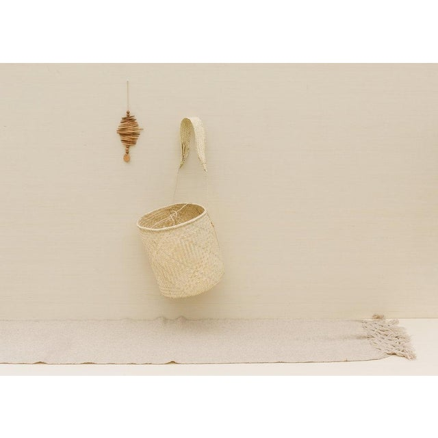 2010s Boho Chic Oaxaca Palm Basket With Strap For Sale - Image 5 of 6