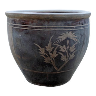 Vintage Chinese Clay Ceramic Planter Pot For Sale