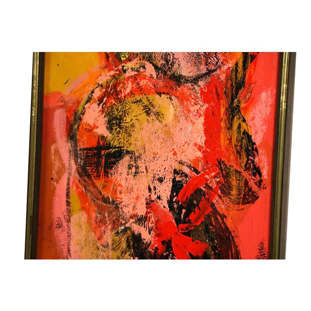 "Oil Paint Mid Century Abstract Expressionist Oil paintings signed ""Griffin"" - a Pair For Sale - Image 7 of 11"