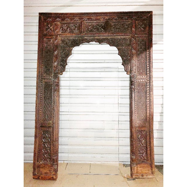 Antique Indian Carved Welcome Gate Teak Arch For Sale - Image 12 of 12