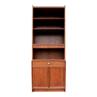 Kipp Stewart for Drexel Mid-Century Modern Walnut China Cabinet Hutch For Sale