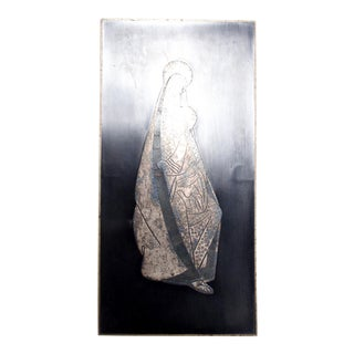 Mid Century Modern Los Castillo Virgin Mary Striking Silver Panel Plaque, Mexico 70s For Sale