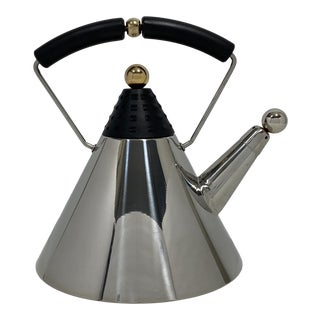 Postmodern Chrome and Brass Tea Kettle For Sale