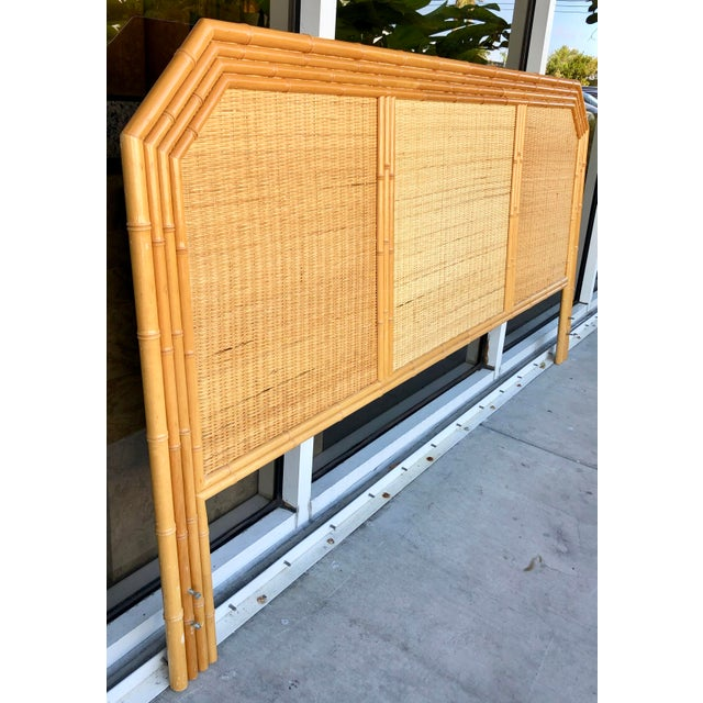 Timeless Coastal style king size headboard. Back is made of wood covered with rattan and bamboo trim. Light weight and...