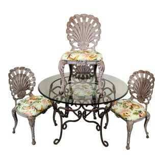 Grotto Style Patio Dining Set w/ 4 Chairs For Sale