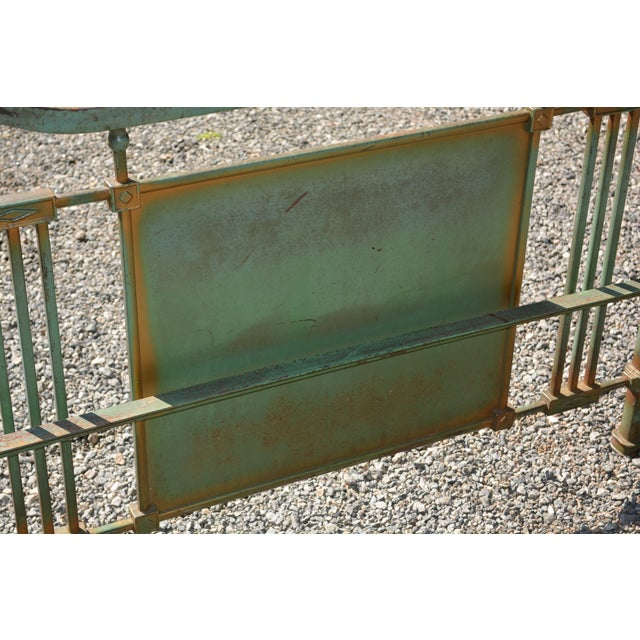 Late 19th Century 1800's Antique European Cast Iron Steel Green Shabby Chic Scenic 3/4 Bed Frame For Sale - Image 5 of 13