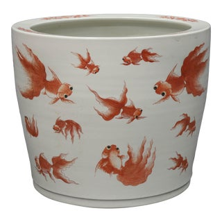 Wide Mouthed Porcelain Fish Bowl With Handpainted Goldfish For Sale
