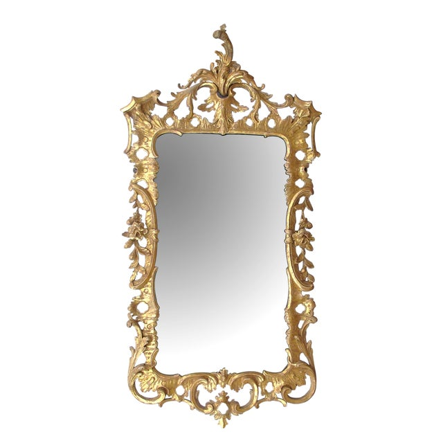 An Elegant and Superbly-Carved English George II Gilt-Wood Mirror With Elaborate Foliate Crest For Sale