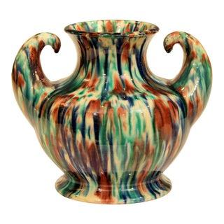 Awaji Pottery Art Deco Japanese Vintage Studio Muscle Vase Flambe Glaze For Sale