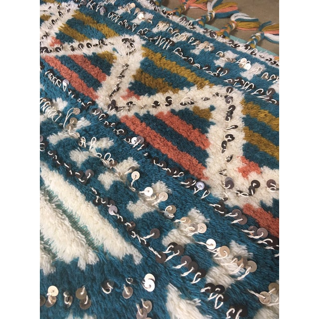 Moroccan Style Wool Sequin Tassel Rug/Wall Hanging - 3' x 5' - Image 6 of 6