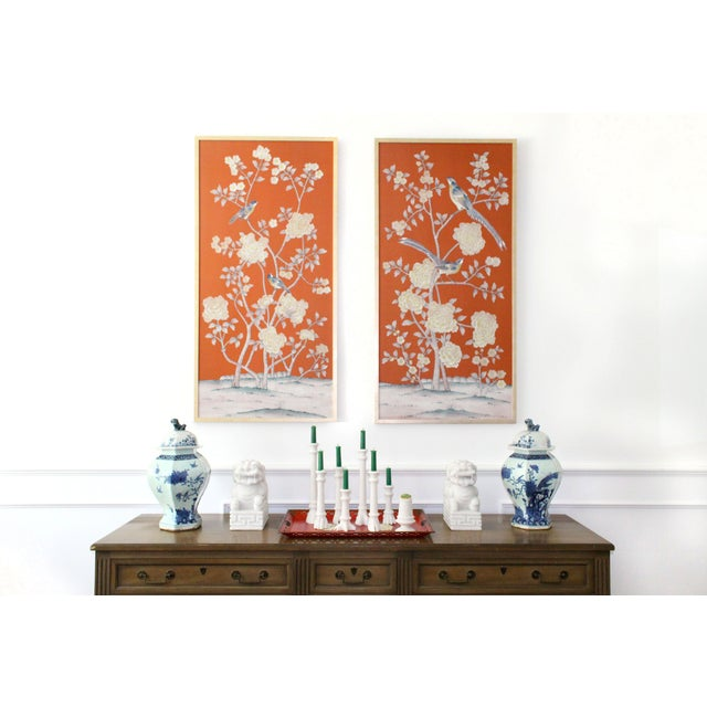 """Not Yet Made - Made To Order Jardins en Fleur """"Furness"""" Chinoiserie Hand-Painted Silk Diptych by Simon Paul Scott - a Pair For Sale - Image 5 of 6"""
