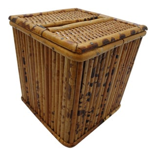 Boho Chic Vintage Mid-Century Bamboo Wicker Tissue Box For Sale