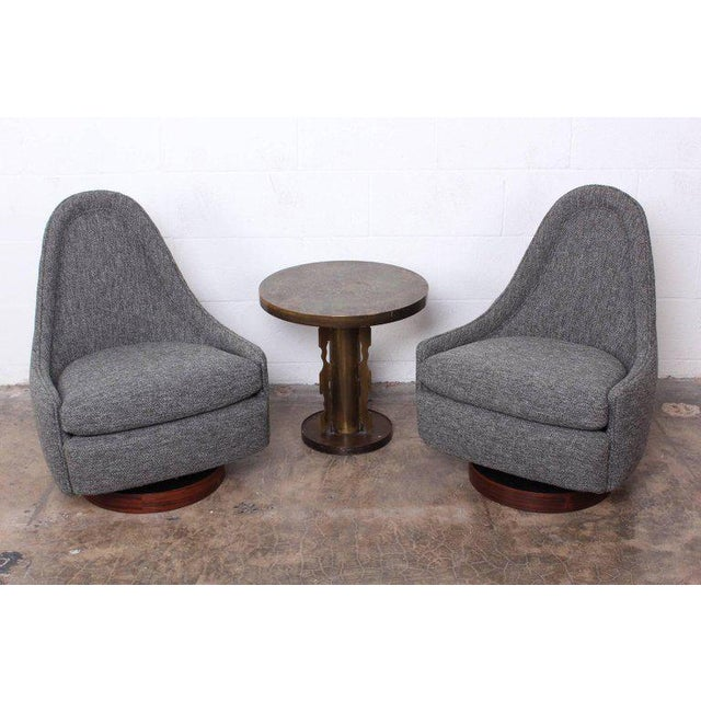 Rosewood Pair of Petite Rocking Swivel Chairs by Milo Baughman For Sale - Image 7 of 13