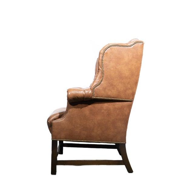 Regency Vintage Wingback Tufted Leather Chairs - a Pair For Sale - Image 3 of 7