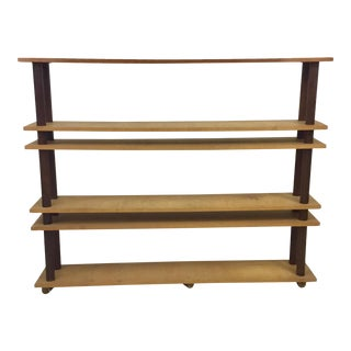 1970s American Studio Craft Mixed Woods Shelf Etagere For Sale