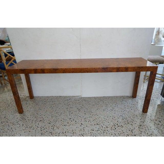 Mid-Century Modern Milo Baughman Burlwood Console Table from a Palm Beach estate