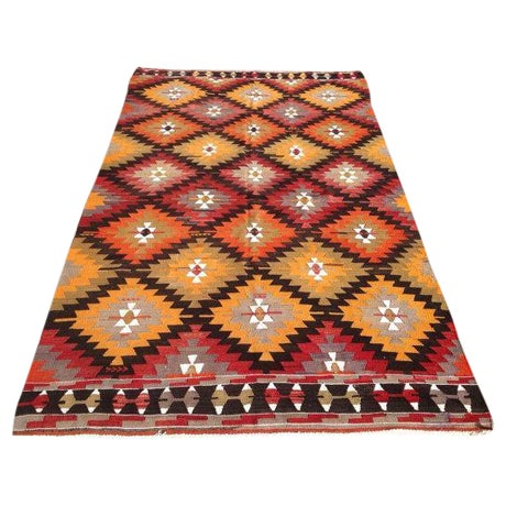 "Vintage Turkish Red & Orange Kilim Rug - 5'2"" X 9' For Sale"