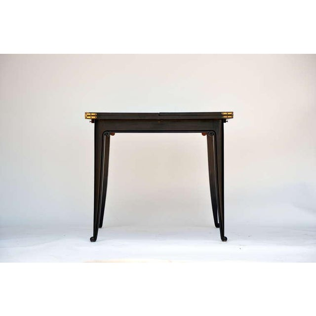 Art Deco Chic Ebonized French 1940s Folding Center or Dining Table For Sale - Image 3 of 10