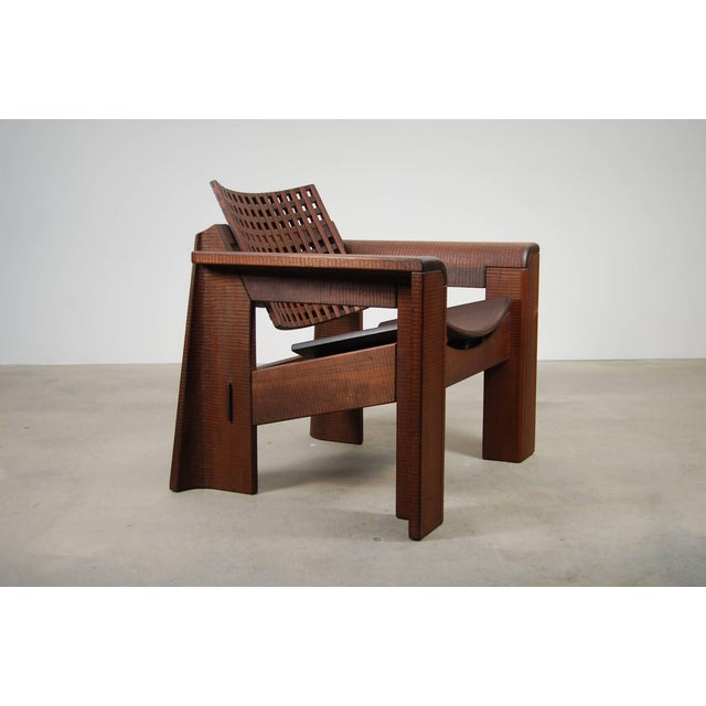Afra & Tobia Scarpa Pair of Solid Walnut Lounge Chairs For Sale - Image 4 of 10