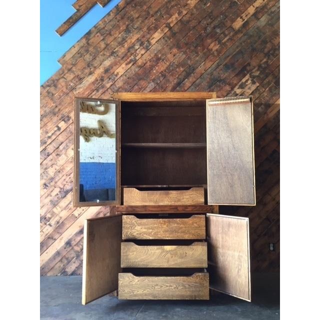 Vintage Wood and Cork Brutalist Armoire - Image 5 of 9