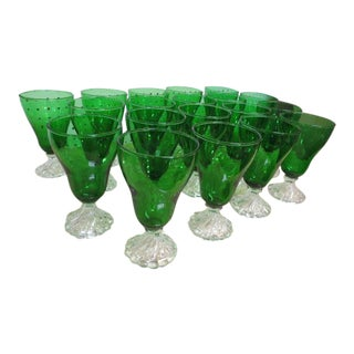 Vintage Mid-Century Modern Emerald Water Glasses - Set of 19 For Sale
