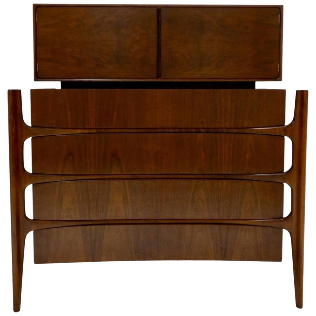 William Hinn Swedish Book-Matched Gentlemen's Chest With Top Cabinet For Sale