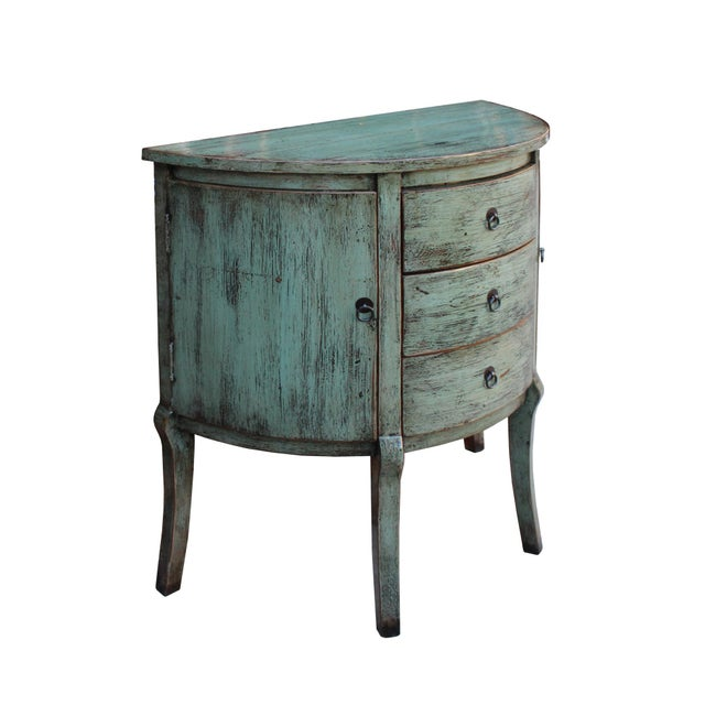 Chinese Distressed Gray Celadon Color Wood Craw Legs Half Table For Sale - Image 4 of 8