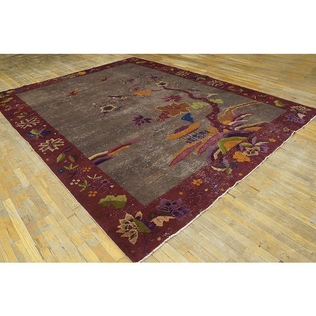 """Antique Chinese Art Deco Rug 8'10""""x11'6"""" For Sale In New York - Image 6 of 13"""