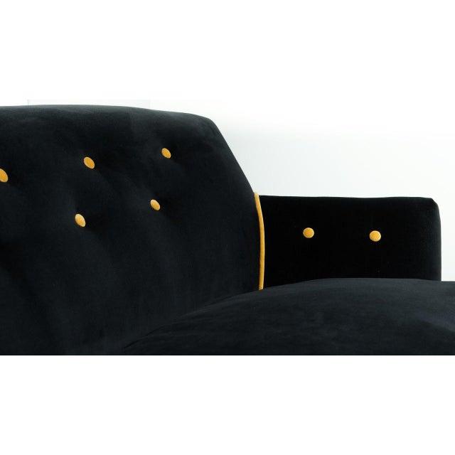 Black & Gold Velvet Sofa - Image 3 of 8