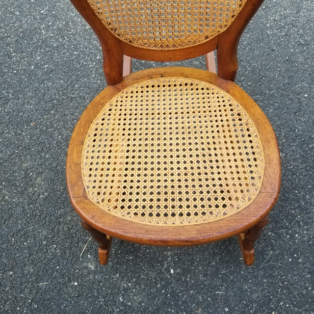 Early 20th Century Vintage Cane Sewing Rocking Chair Children's Chair For Sale - Image 5 of 8