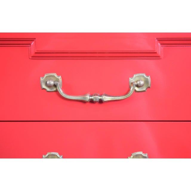 19th Century Thomasville Positive Red High Gloss Lacquer Dresser For Sale - Image 10 of 13