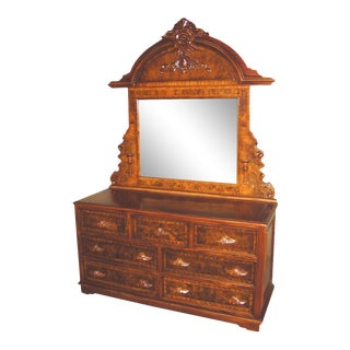 Chest of Drawers Victorian Flame Mahogany Oak For Sale