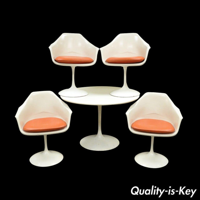 "Vintage Mid Century Modern Tulip Dining Set 42"" Table 4 Chairs Burke Saarinen - Image 11 of 11"
