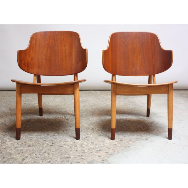 Danish Modern Ib Kofod-Larsen Danish Sculptural Shell Chairs in Teak and Beech - a Pair For Sale - Image 3 of 13