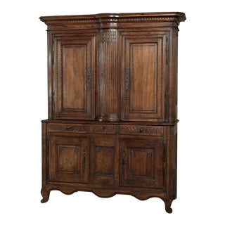 18th Century French Walnut Louis XVI Buffet a Deux Corps For Sale