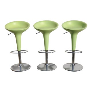 1990s Vintage Magis Bombo Green Bar Stools by Stefano Giovannoni- Set of 3 For Sale