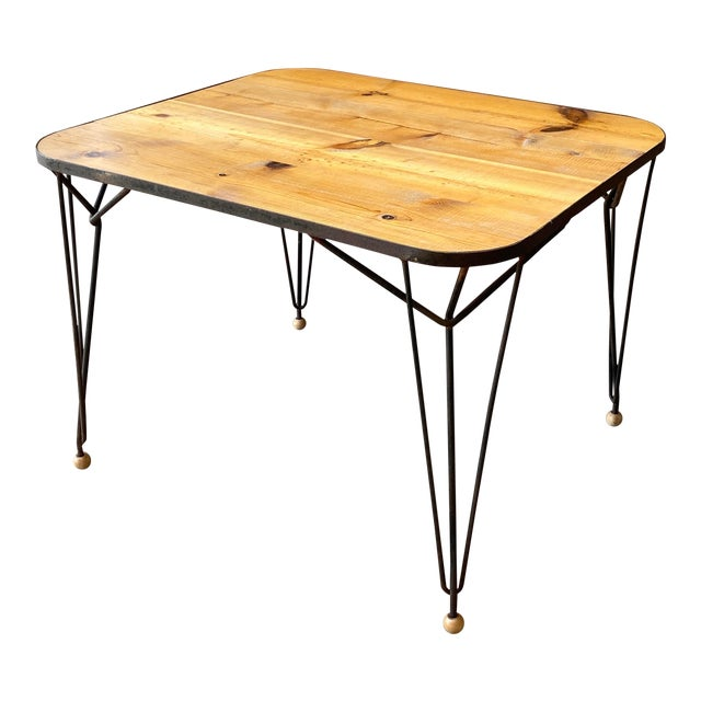 1950s Mid-Century Modern Solid Wood & Hairpin Iron Leg Table For Sale