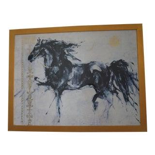 1990s Vintage Wild Stallion Horse Painting