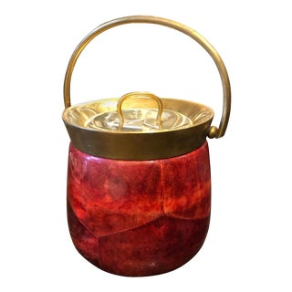 1950s Aldo Tura Mid-Century Modern Red Goatskin and Brass Ice Bucket For Sale