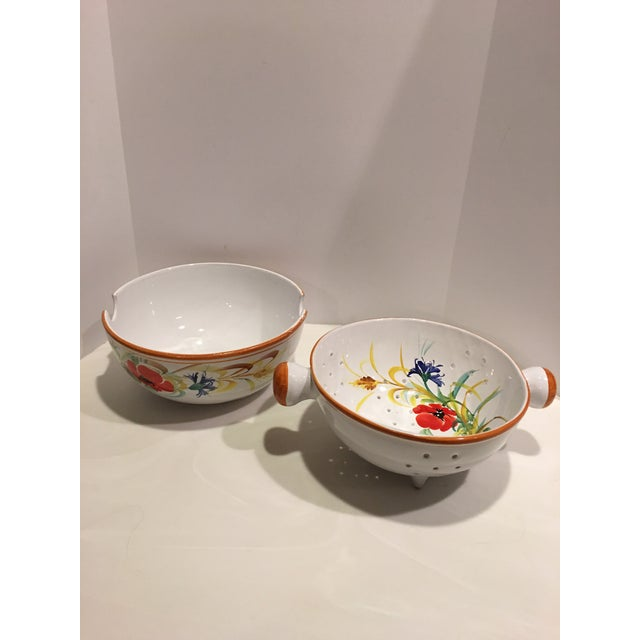 Italian Italian Hand Painted Pasta Bowl & Colander - a Pair For Sale - Image 3 of 9