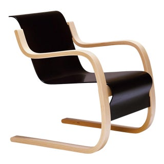 Armchair 42 in Birch and Black by Alvar Aalto & Artek For Sale
