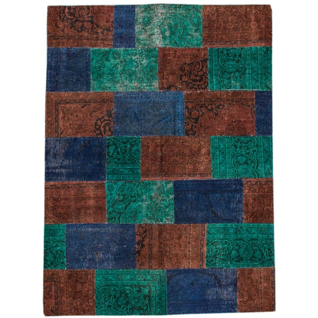 "Vintage Patchwork Overdyed Rug - 6'6"" X 8'10"" For Sale In New York - Image 6 of 6"