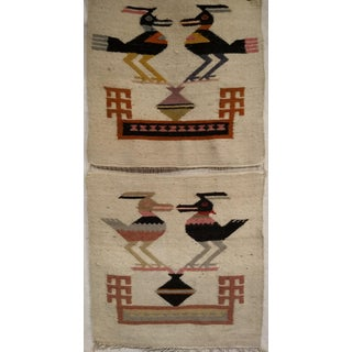 "Vintage Navajo Pictorial Rug -1' 2"" X 2' 5"" For Sale"
