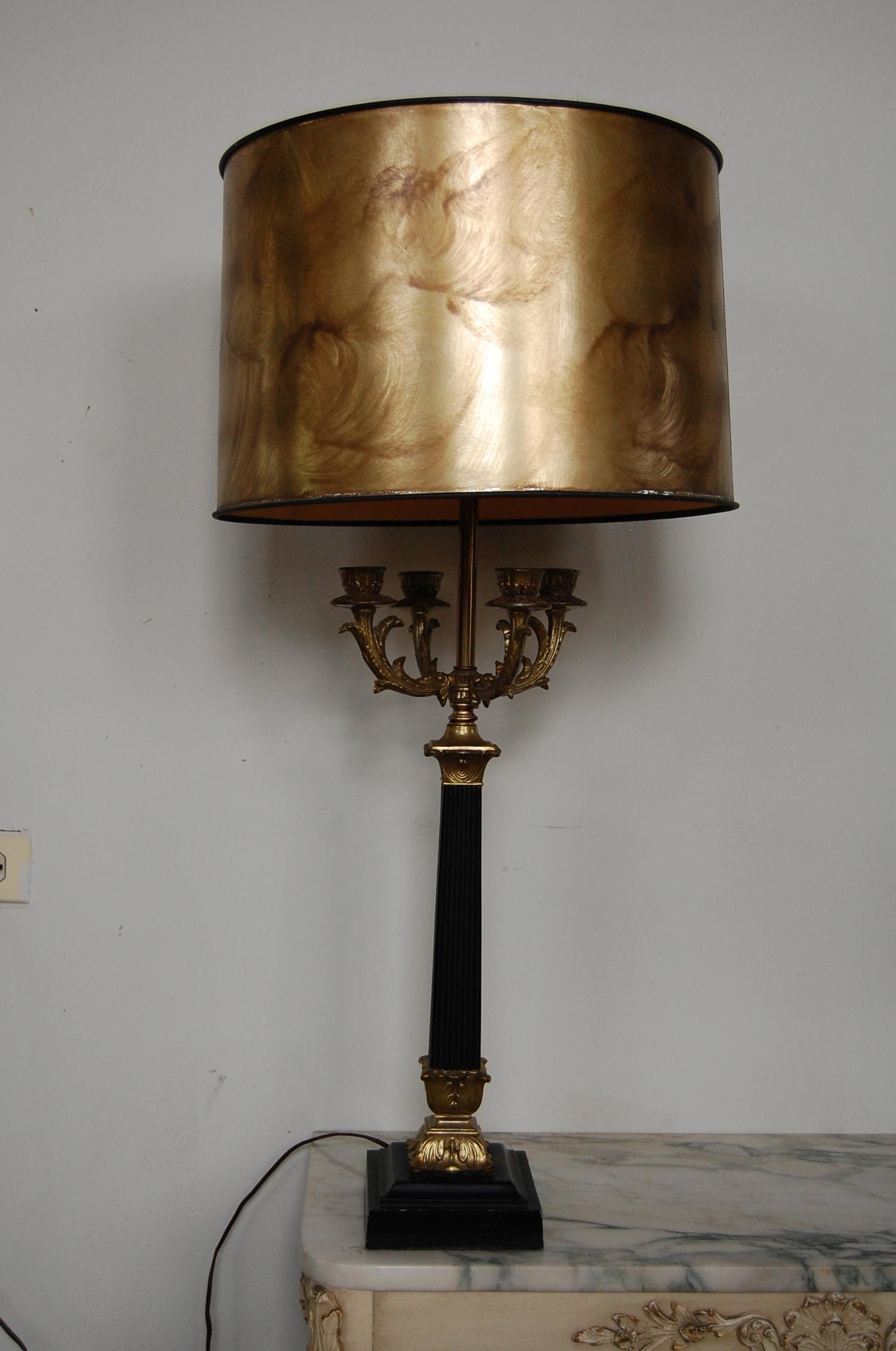 Tall Black U0026 Gold Neoclassical Candelabra Lamp   Image 8 ...