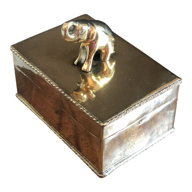 Vintage Elephant Brass Box For Sale
