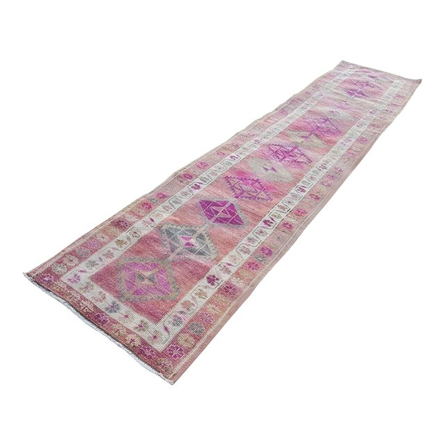 2.8 X 12.7 Vintage Boho Chic Hand Knotted Muted Coloured Carpet, Anatolian Kurdish Runner With Multi Medallion Design, Long Oushak Hall Rug For Sale